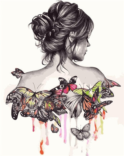 Woman Butterfly - Paint By Numbers Kit