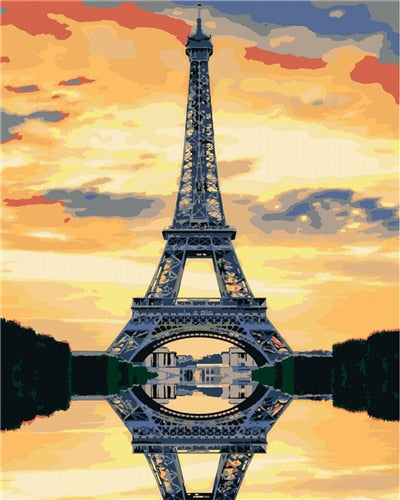 Eiffel Tower Reflection - Paint By Numbers Kit