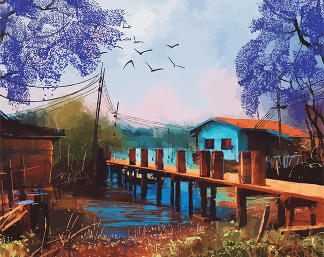 Blue Dockside Cottage - Paint By Numbers Kit