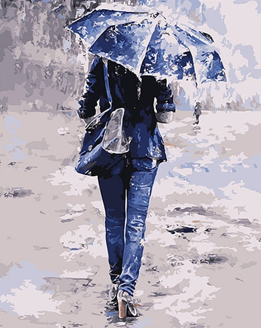 A walk in the Rain - Paint By Numbers Kit