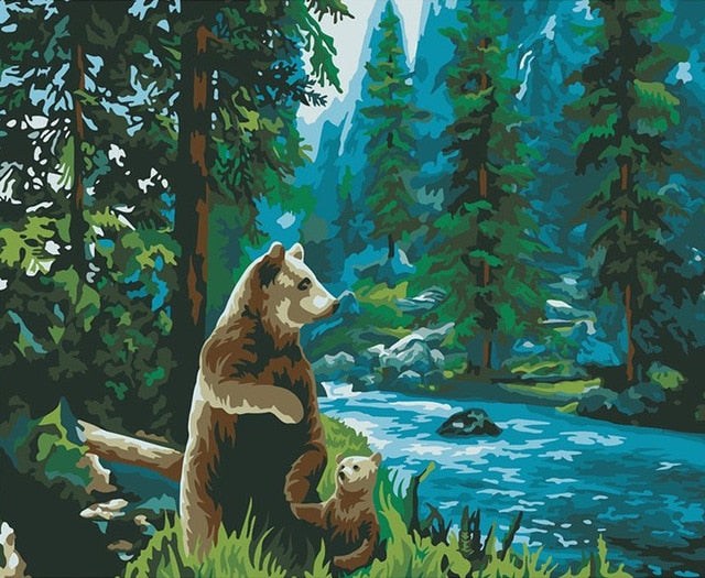 Bear and Cub - Paint By Numbers Kit