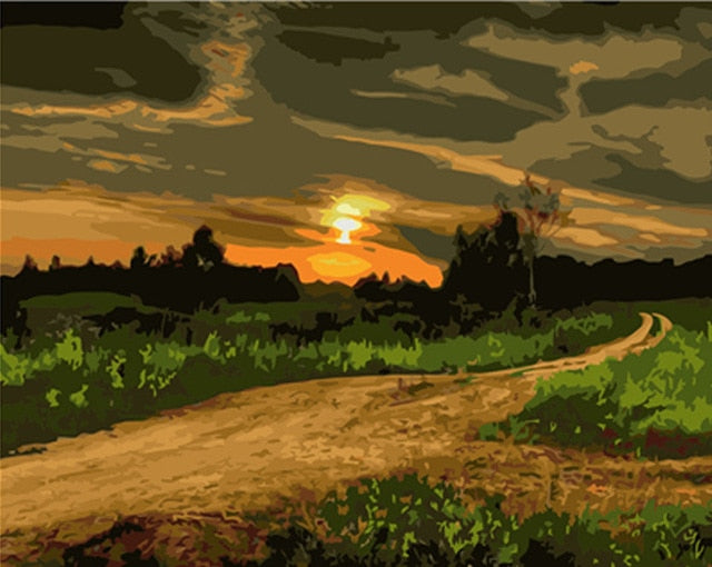 Dirt Road and Green Fields - Paint By Numbers Kit