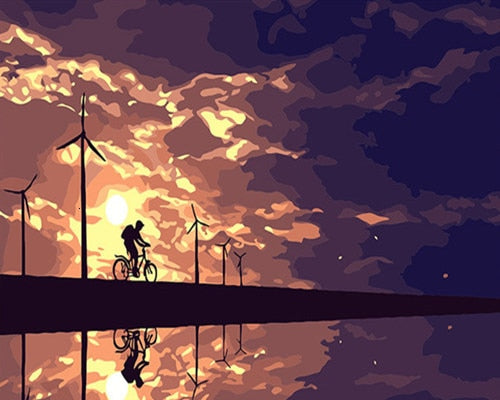 Sunset Cycling - Paint By Numbers Kit