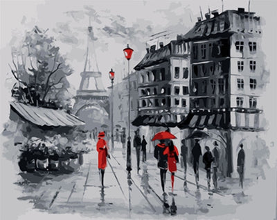Rainy Paris Walk  - Paint By Numbers Kit