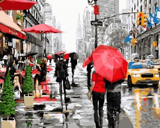 Rainy NY Walk  - Paint By Numbers Kit