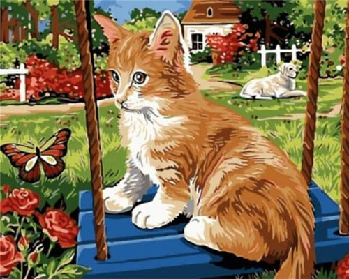 Cat on Swing - Paint By Numbers Kit