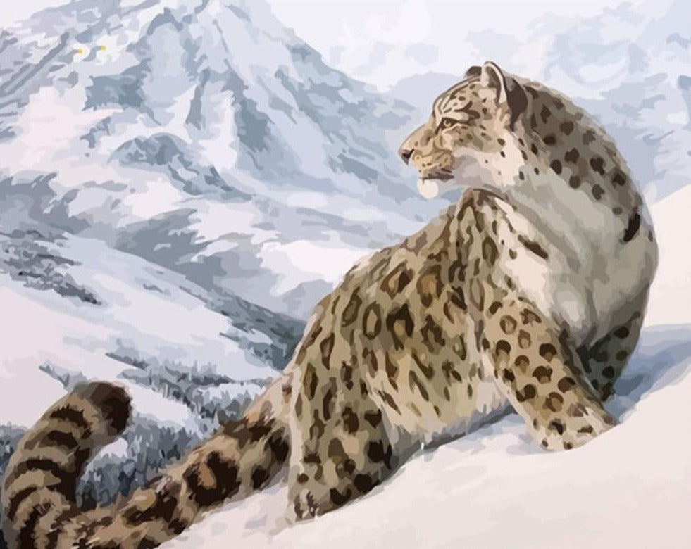 Winter Leopard - - Paint By Numbers Kit