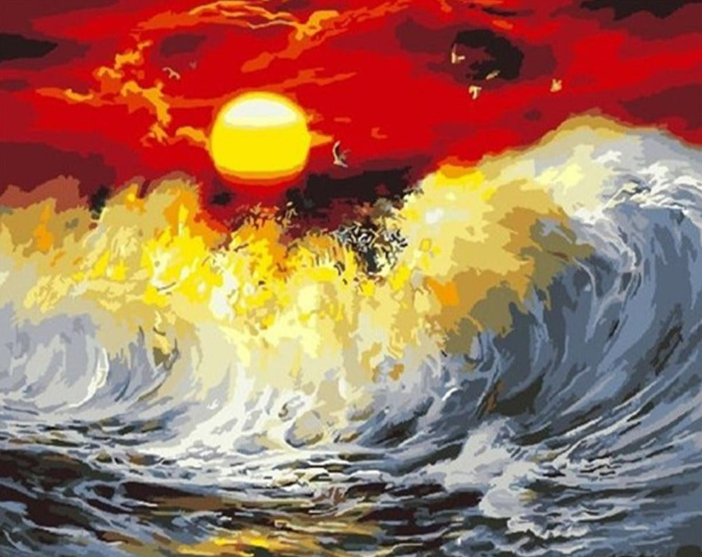 Wild Waves Against Red Sky - Paint By Numbers Kit