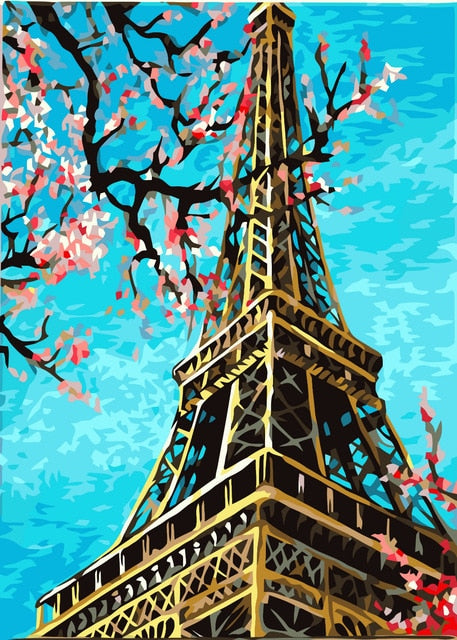 Eiffel Spring Blossoms - Paint By Numbers Kit