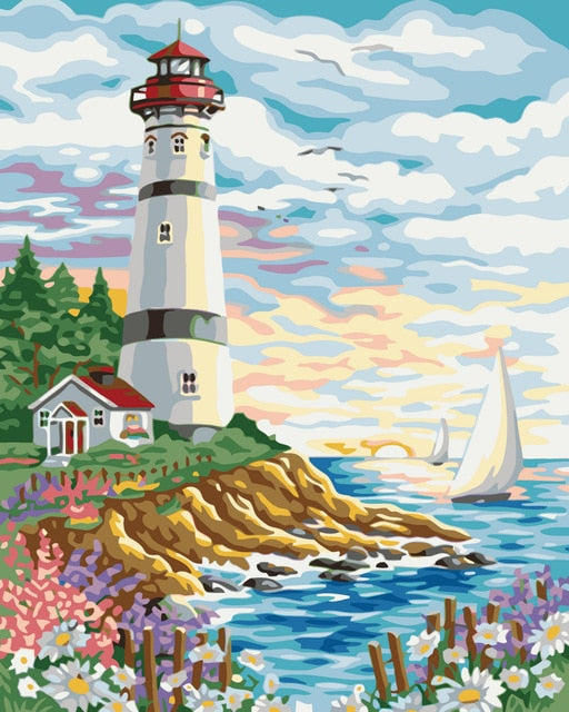 Lighthouse And Sail - Paint By Numbers Kit