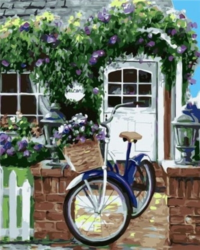 Blue Bicycle with Spring Flowers - Paint By Numbers Kit