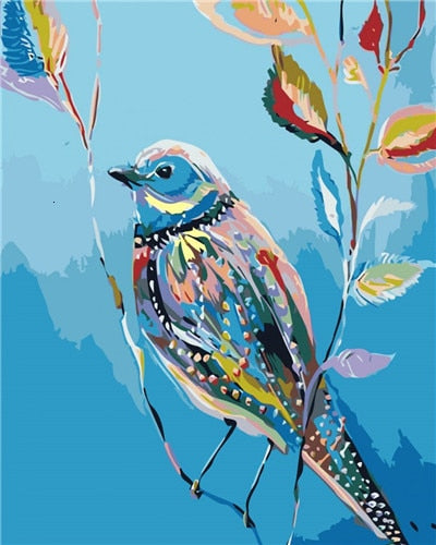 Colorful Bird on Little Branch - Paint By Numbers Kit
