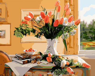 Tulips in Vase - Paint By Numbers Kit