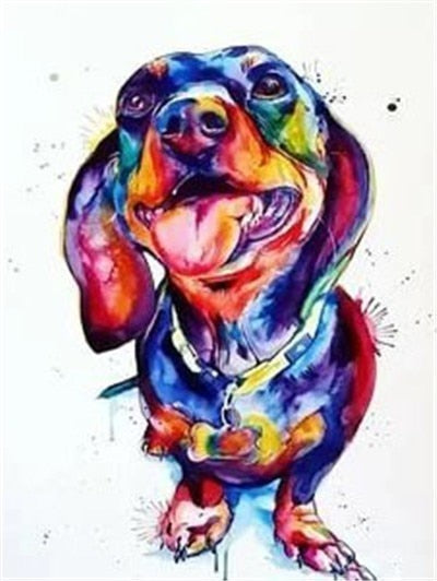 Colorful Dashchund Dog - Diamond Painting Kit