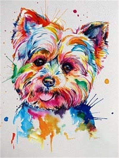 Colorful Yorkie Dog - Diamond Painting Kit