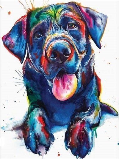 Colorful Lab  Dog - Diamond Painting Kit
