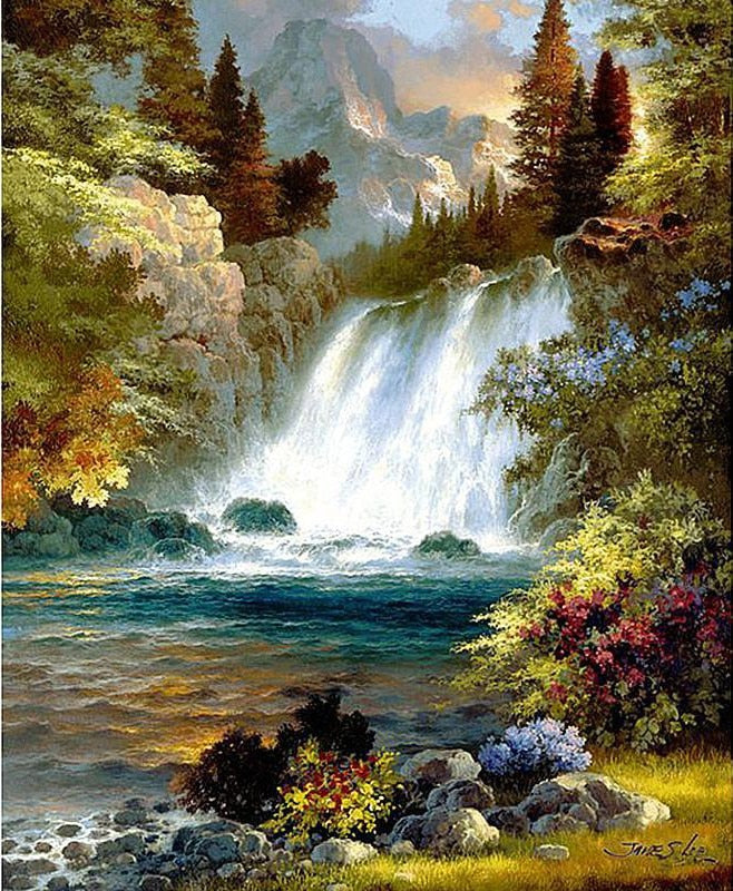Forest Waterfall - Diamond Painting Kit