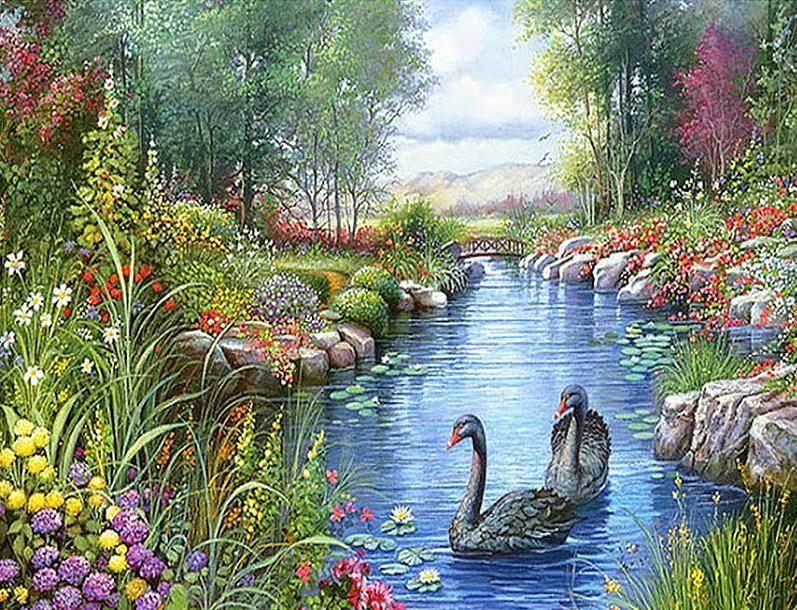 Swan River - Diamond Painting Kit