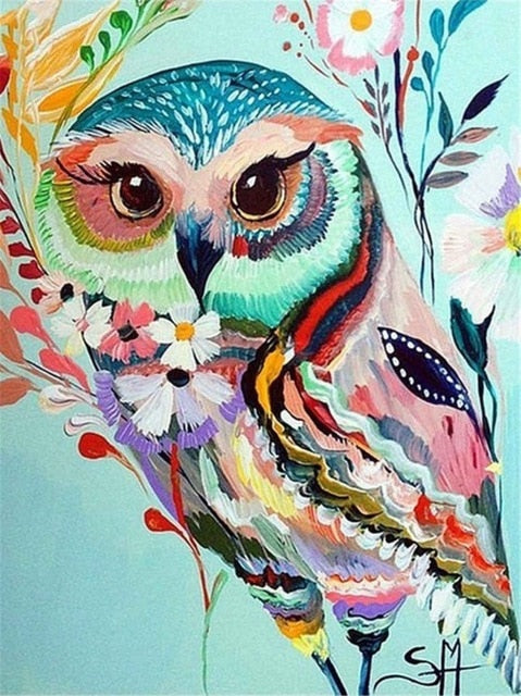 Watercolor Owl - Diamond Painting Kit