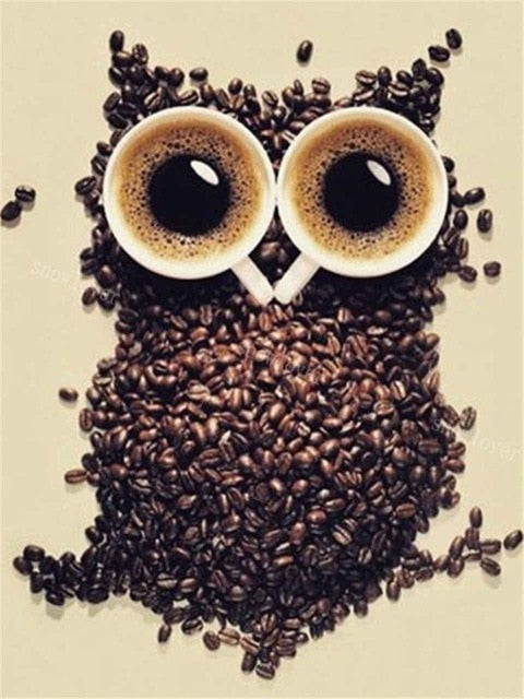 Coffee Owl - Diamond Painting Kit