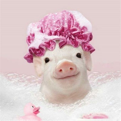 Pink Pig in Bubble Bath - Diamond Painting Kit