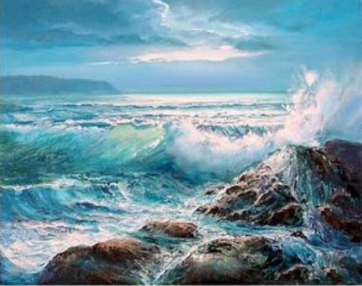 Waves Crashing on Rocks - Paint By Numbers Kit