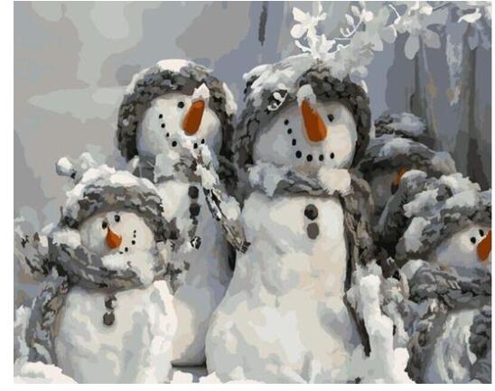 Snowmen Family - Paint By Numbers Kit