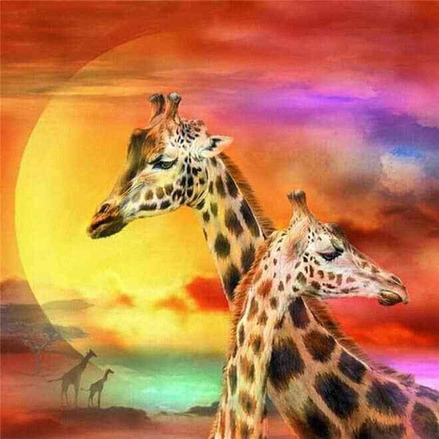 Giraffes Couple - Diamond Painting Kit