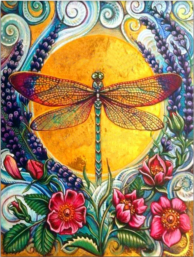 Dragonfly And Flowers - Diamond Painting Kit