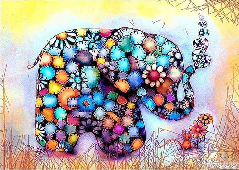 Colorful Elephant - Diamond Painting Kit