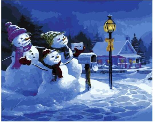 Three Snowmen - Paint By Numbers Kit