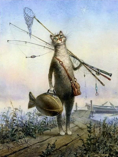 Fishing Cat - Paint By Numbers Kit