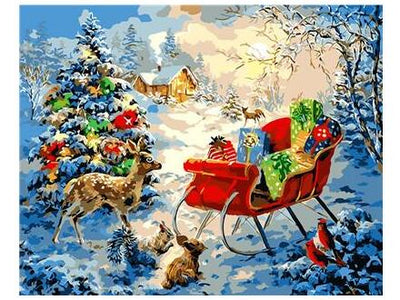 Reindeer and Sleigh - Paint By Numbers Kit