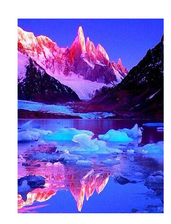 Ice Mountains And Sunrise - Diamond Painting Kit