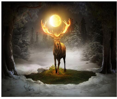 A Deer And The Moon - Diamond Painting Kit