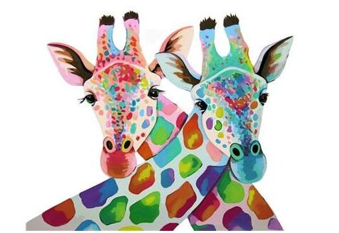 Two Colorful Giraffes - Paint by Numbers Kit