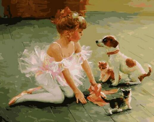 Girl with Puppies and Kitties - Paint by Numbers Kit