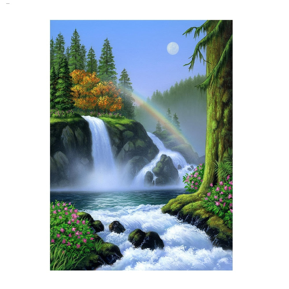 A Waterfall And A Rainbow - Diamond Painting Kit