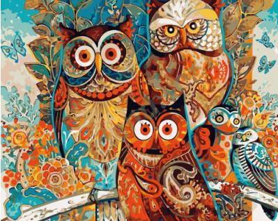 Abstract Owls - Paint By Numbers Kit