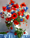 Red White and Blue Flowers in Vase - Paint By Numbers Kit