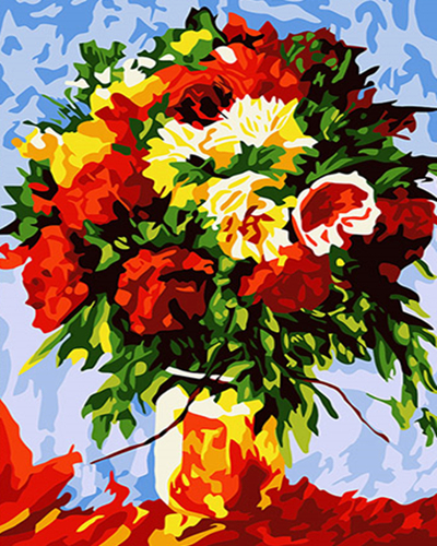 Red and Yellow Flowers in Vase - Paint By Numbers Kit