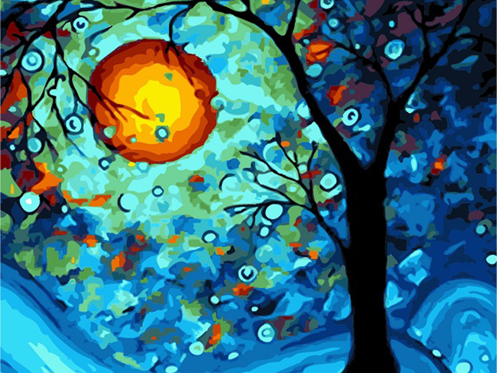 Tree and Glowing Moon - Paint By Numbers Kit