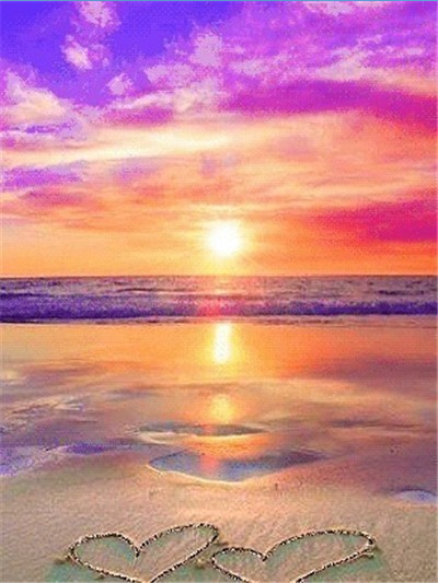 Sand Hearts Purple Sunset - Diamond Painting Kit