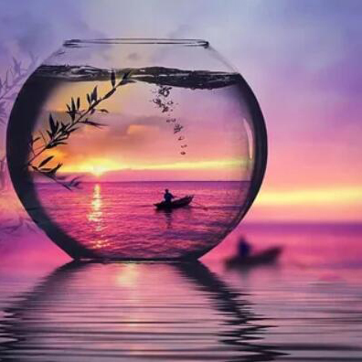 Sunrise Boat in a Glass - Diamond Painting Kit