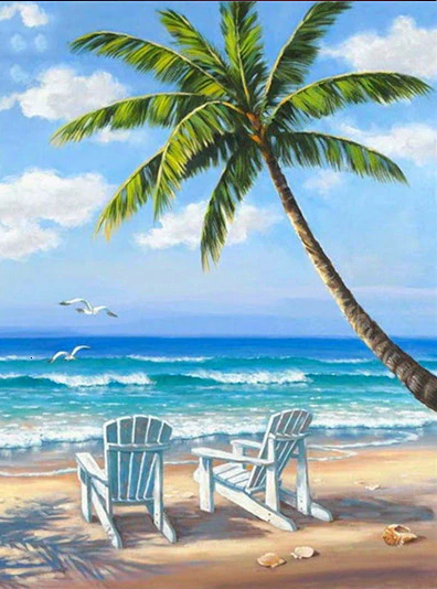 Adirondack Chairs On The Beach Paint By Numbers Kit My Diamond Paintings