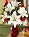 Red and White Flowers in Vase - Paint By Numbers Kit