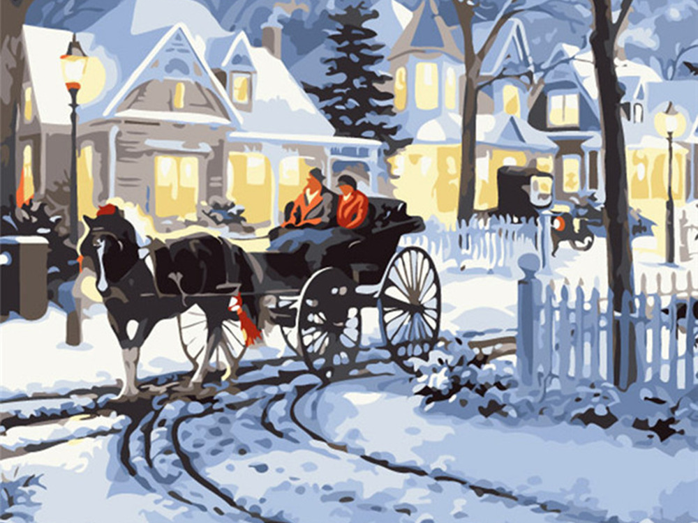 Winter Carriage Ride - Paint By Numbers Kit