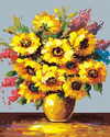 Yellow and Pink Flowers in Vase - Paint By Numbers Kit
