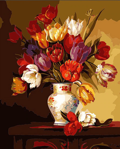 Yellow Red Maroon Flowers in Vase - Paint By Numbers Kit