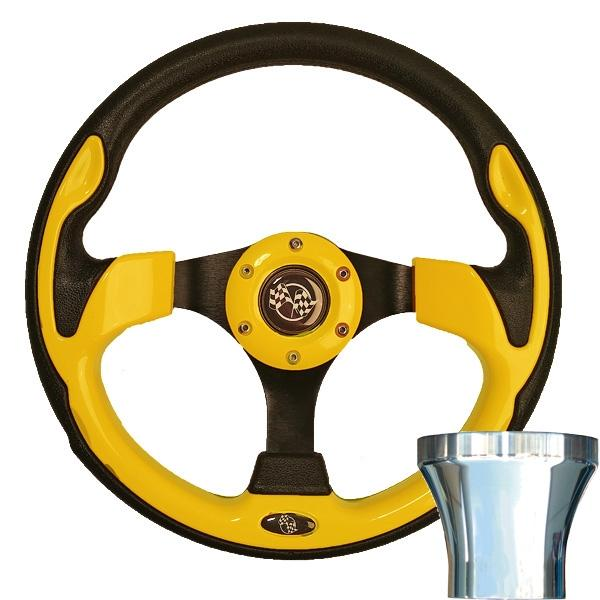 E-Z-GO Yellow Rally Steering Wheel Chrome Adaptor Kit (Fits 1994.5-Up)